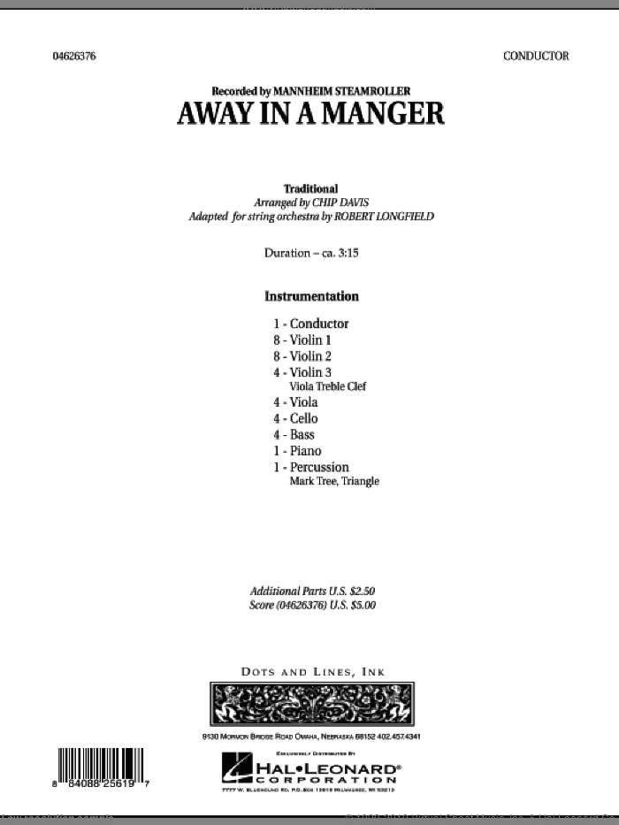 Away in a Manger (COMPLETE) sheet music for orchestra by Chip Davis, Mannheim Steamroller and Robert Longfield, intermediate. Score Image Preview.
