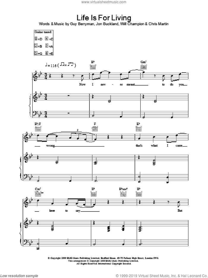 Life Is For Living sheet music for voice, piano or guitar by Coldplay, intermediate skill level