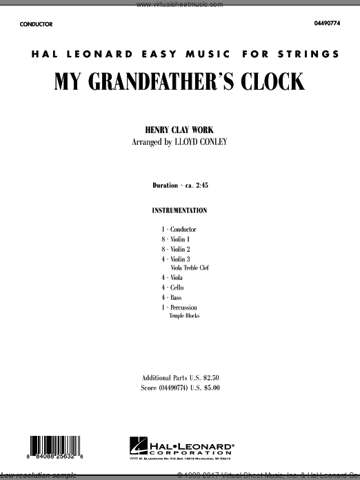 My Grandfather's Clock (COMPLETE) sheet music for orchestra by Lloyd Conley