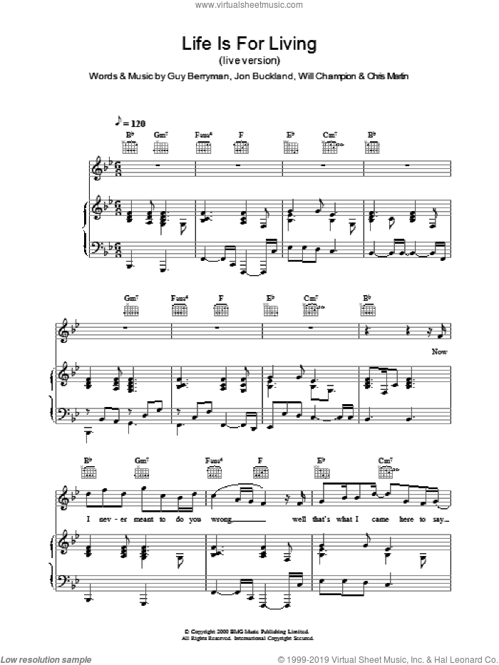 Life Is For Living (live version) sheet music for voice, piano or guitar by Coldplay, intermediate skill level