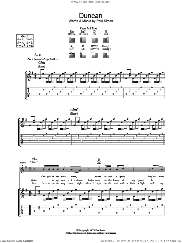 Duncan sheet music for guitar (tablature) by Paul Simon