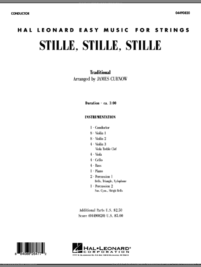 Stille, Stille, Stille sheet music for orchestra (full score) by James Curnow