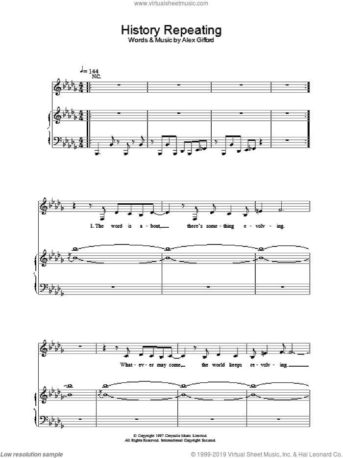 History Repeating sheet music for voice, piano or guitar by Shirley Bassey and Propellerheads, intermediate skill level
