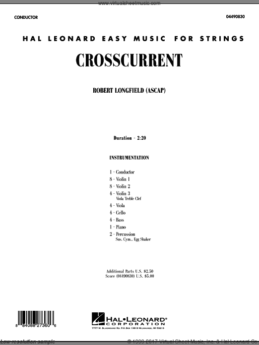 Crosscurrent (COMPLETE) sheet music for orchestra by Robert Longfield