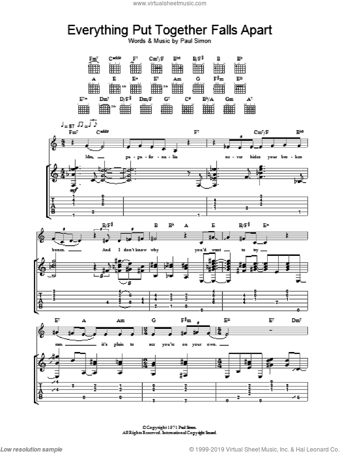 Everything Put Together Falls Apart sheet music for guitar (tablature) by Paul Simon, intermediate guitar (tablature). Score Image Preview.