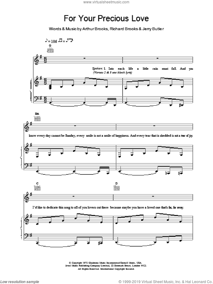 For Your Precious Love sheet music for voice, piano or guitar by Jerry Butler & The Impressions, James Brown, Arthur Brooks, Jerry Butler and Richard Brooks, intermediate. Score Image Preview.
