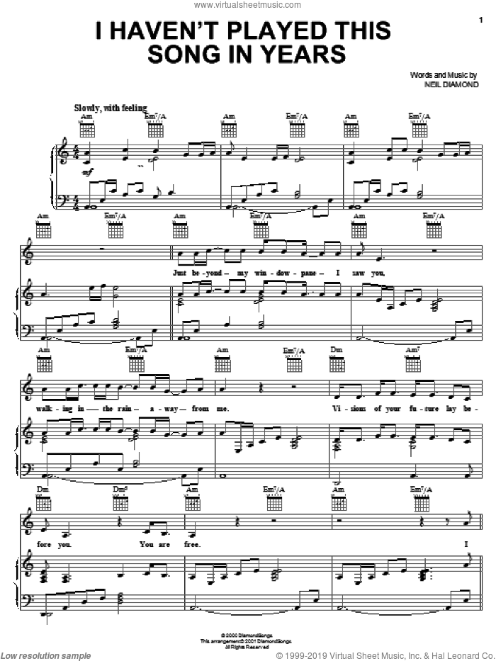 I Haven't Played This Song In Years sheet music for voice, piano or guitar by Neil Diamond, intermediate skill level