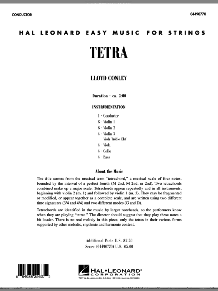 Tetra (COMPLETE) sheet music for orchestra by Lloyd Conley, classical score, intermediate skill level