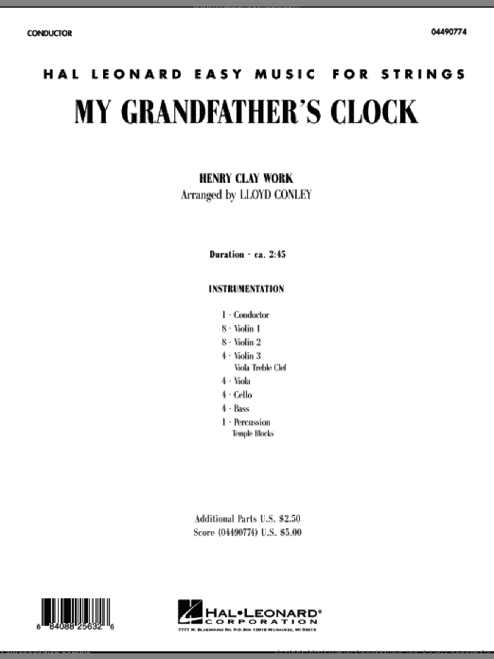 My Grandfather's Clock (COMPLETE) sheet music for orchestra by Lloyd Conley, intermediate skill level
