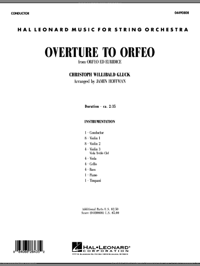 Overture to 'Orfeo' (COMPLETE) sheet music for orchestra by Christoph Willibald Gluck and Jamin Hoffman, classical score, intermediate skill level
