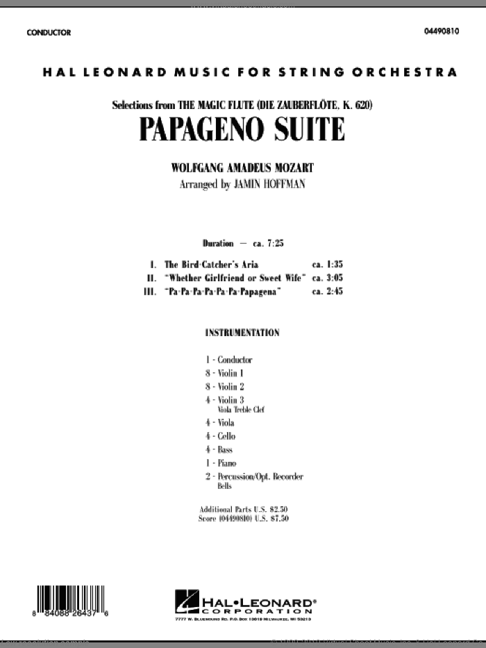 Papageno Suite (COMPLETE) sheet music for orchestra by Wolfgang Amadeus Mozart and Jamin Hoffman, classical score, intermediate skill level
