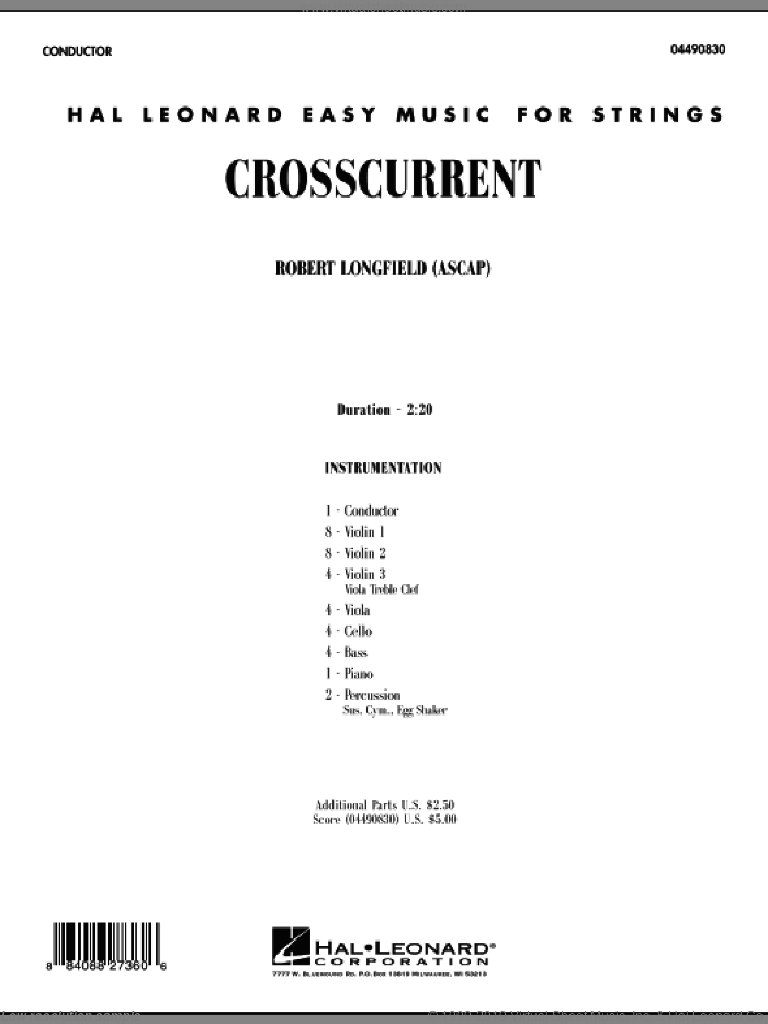 Crosscurrent (COMPLETE) sheet music for orchestra by Robert Longfield, classical score, intermediate. Score Image Preview.