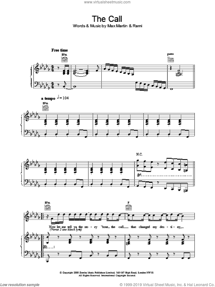 The Call sheet music for voice, piano or guitar by Backstreet Boys, intermediate skill level