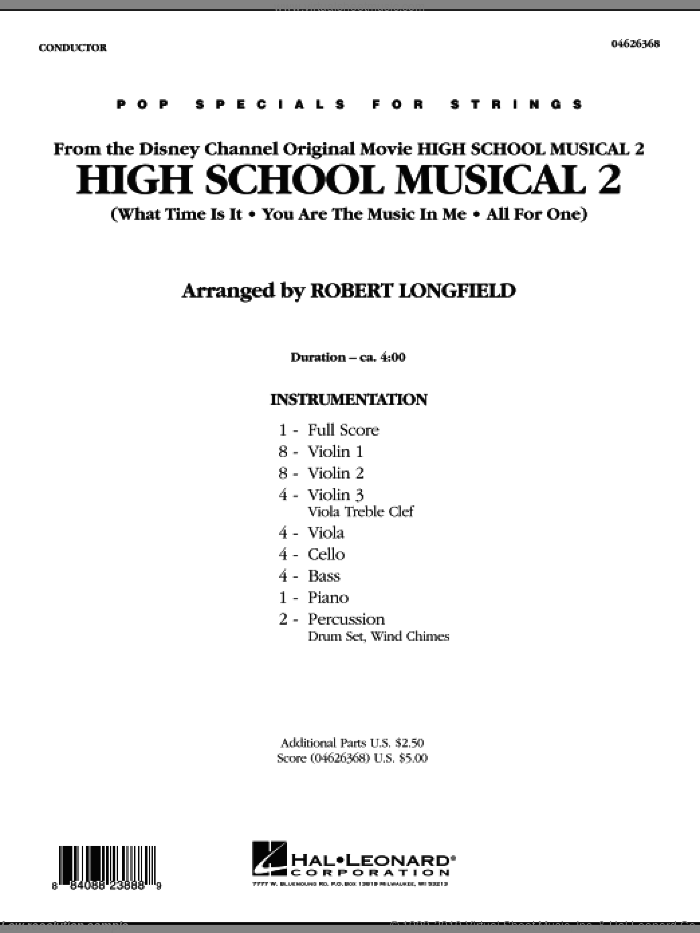 High School Musical 2 (COMPLETE) sheet music for orchestra by Matthew Gerrard, Jamie Houston, Robbie Nevil and Robert Longfield, intermediate