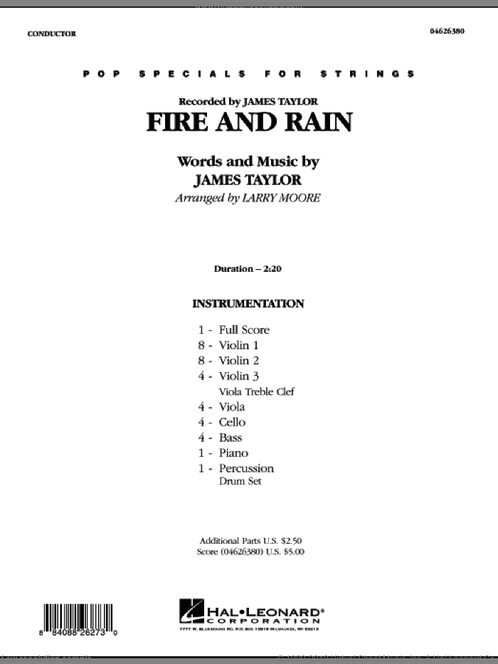 Fire and Rain (COMPLETE) sheet music for orchestra by James Taylor and Larry Moore, intermediate. Score Image Preview.