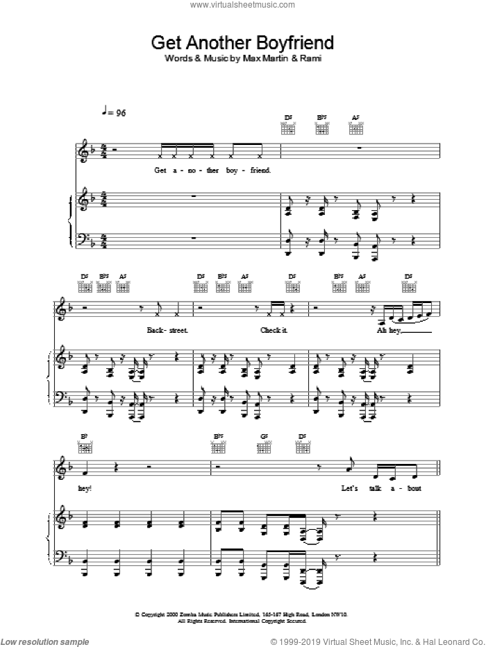 Get Another Boyfriend sheet music for voice, piano or guitar by Backstreet Boys. Score Image Preview.