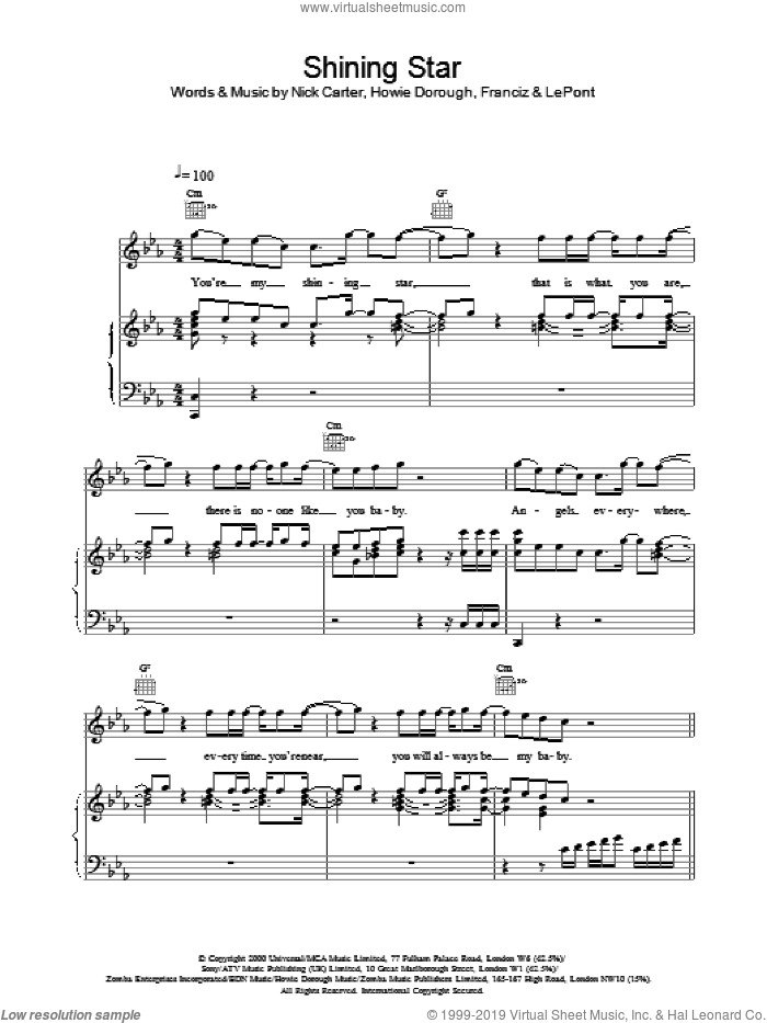 Shining Star sheet music for voice, piano or guitar by Backstreet Boys. Score Image Preview.