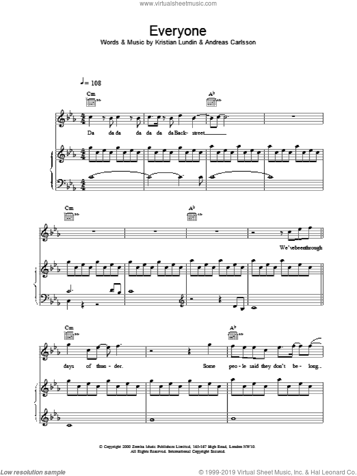 Everyone sheet music for voice, piano or guitar by Backstreet Boys. Score Image Preview.