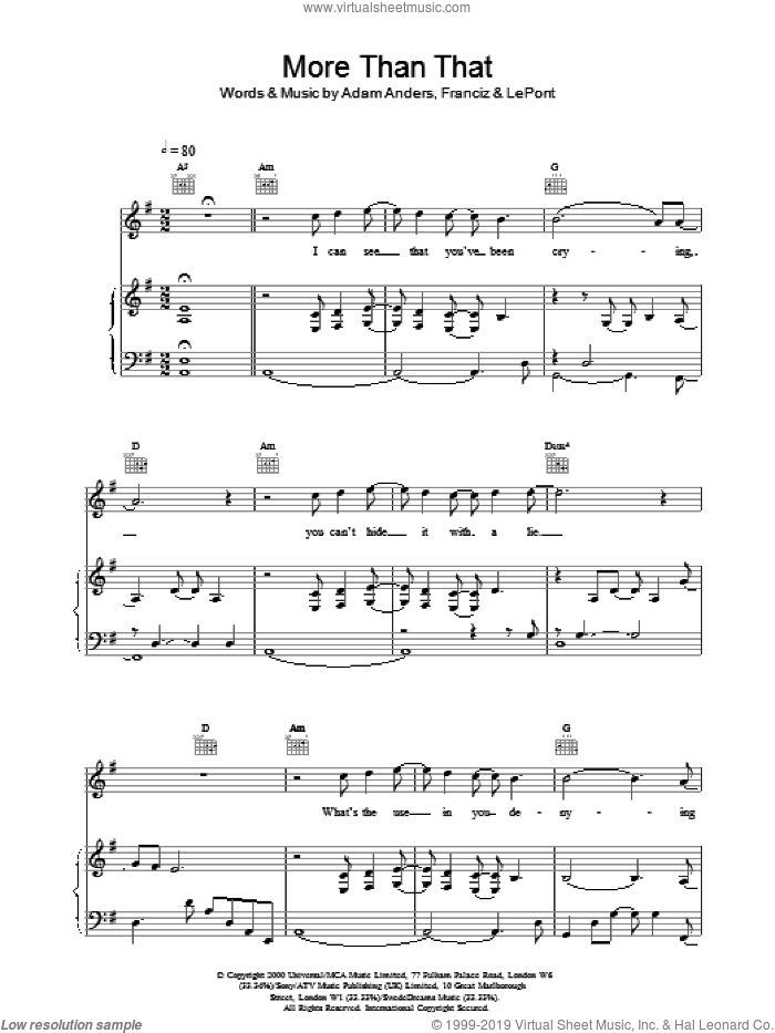 More Than That sheet music for voice, piano or guitar by Backstreet Boys, intermediate