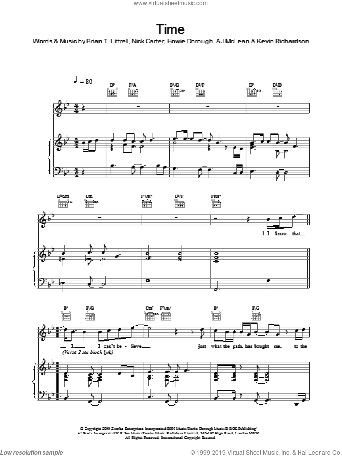Time sheet music for voice, piano or guitar by Backstreet Boys. Score Image Preview.