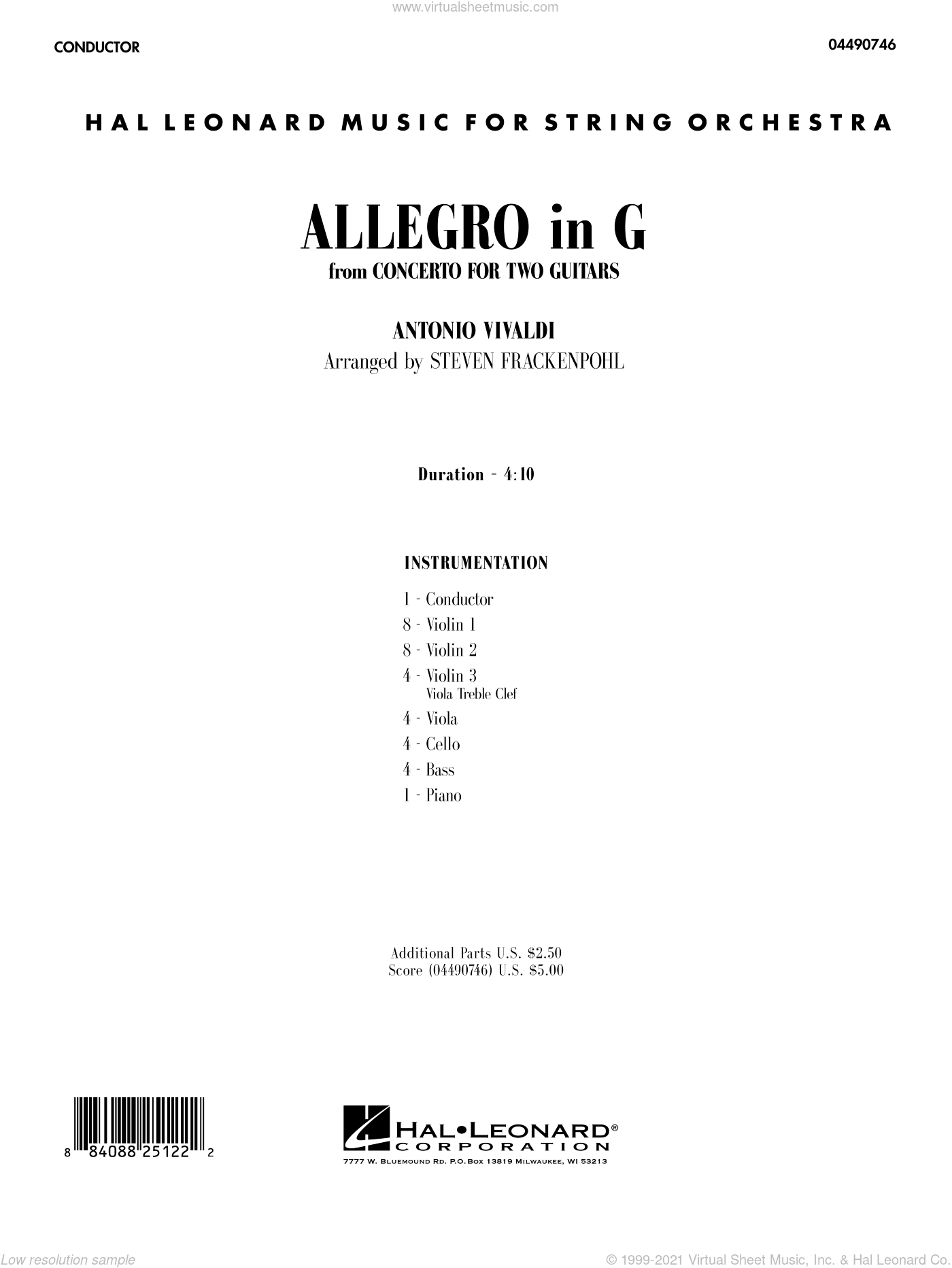 Allegro in G sheet music for orchestra (full score) by Antonio Vivaldi