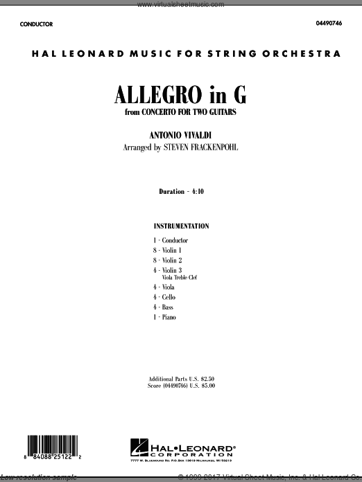 Allegro in G (COMPLETE) sheet music for orchestra by Antonio Vivaldi