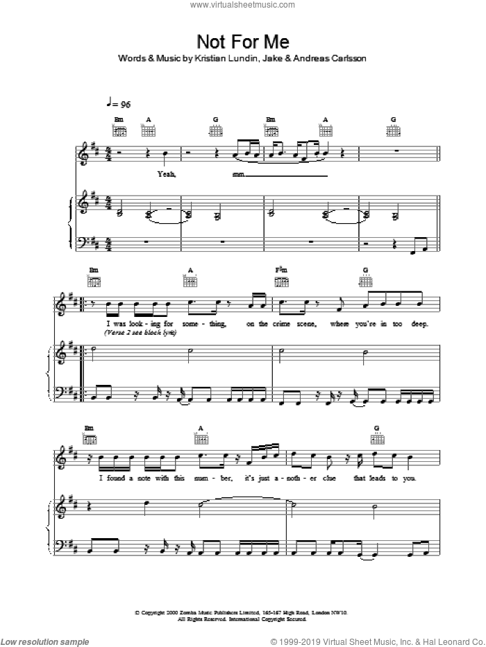 Not For Me sheet music for voice, piano or guitar by Backstreet Boys, intermediate. Score Image Preview.
