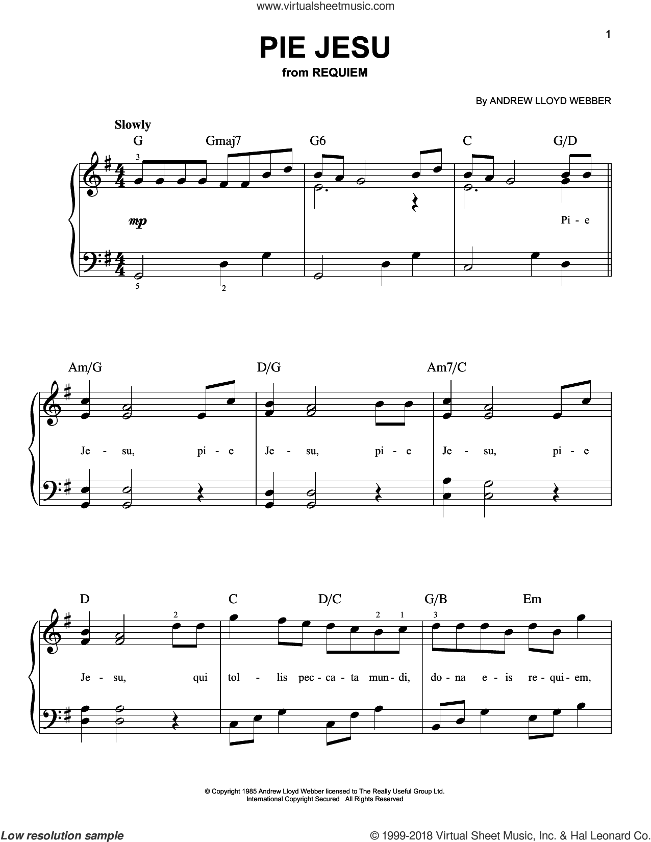 Pie Jesu sheet music for piano solo by Andrew Lloyd Webber