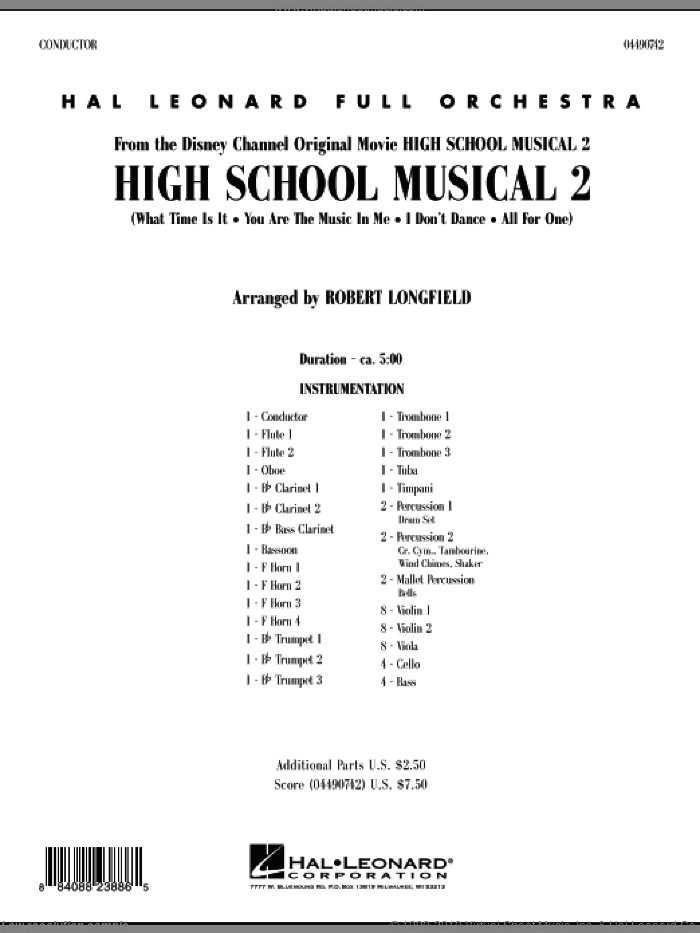 High School Musical 2 (COMPLETE) sheet music for full orchestra by Matthew Gerrard, Jamie Houston, Robbie Nevil and Robert Longfield, intermediate full orchestra. Score Image Preview.