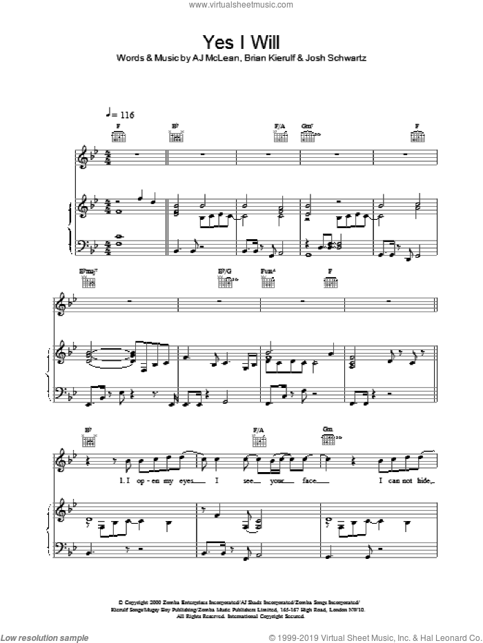 Yes I Will sheet music for voice, piano or guitar by Boyzone