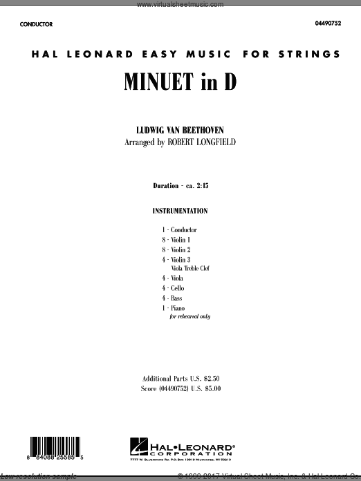 Minuet in D (COMPLETE) sheet music for orchestra by Ludwig van Beethoven