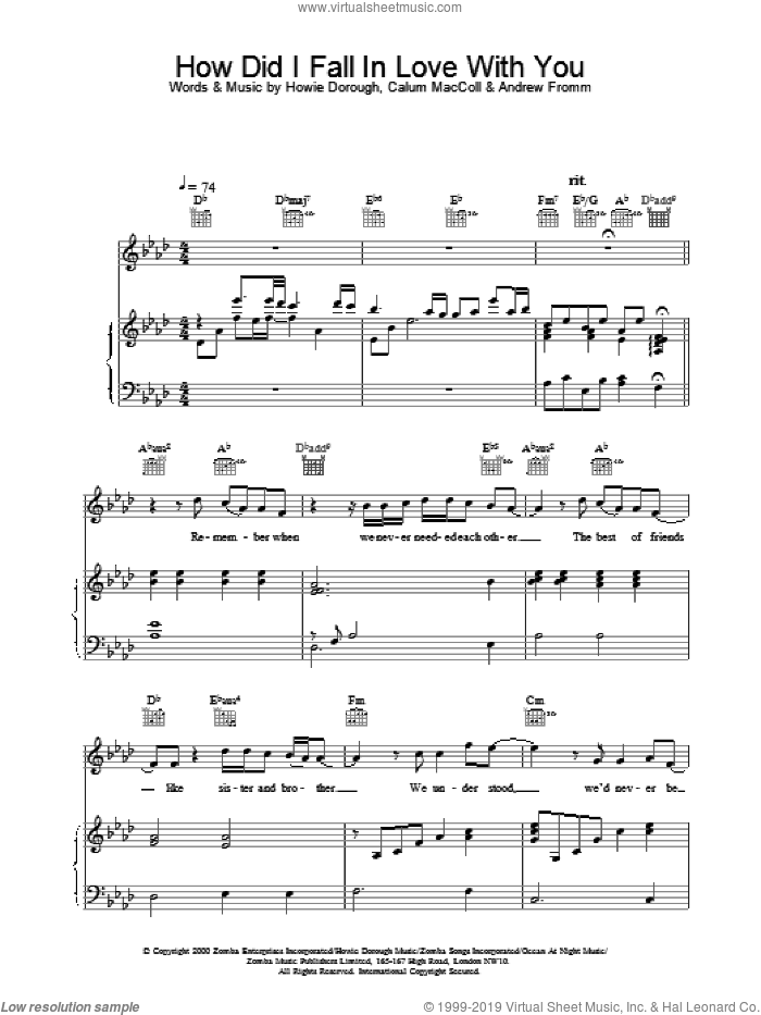 How Did I Fall In Love With You sheet music for voice, piano or guitar by Backstreet Boys. Score Image Preview.