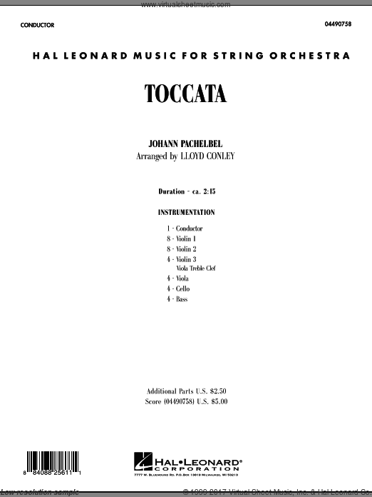 Toccata (COMPLETE) sheet music for orchestra by Johann Pachelbel