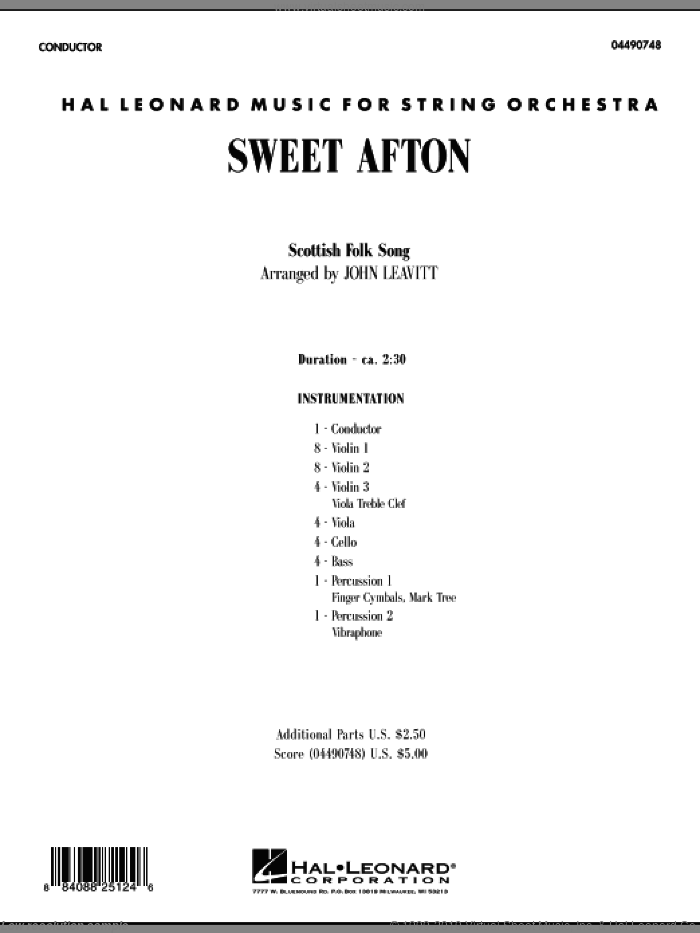 Sweet Afton (COMPLETE) sheet music for orchestra by John Leavitt, intermediate skill level
