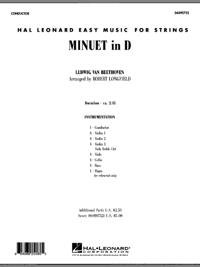 Minuet in D (COMPLETE) sheet music for orchestra by Ludwig van Beethoven and Robert Longfield, classical score, intermediate skill level