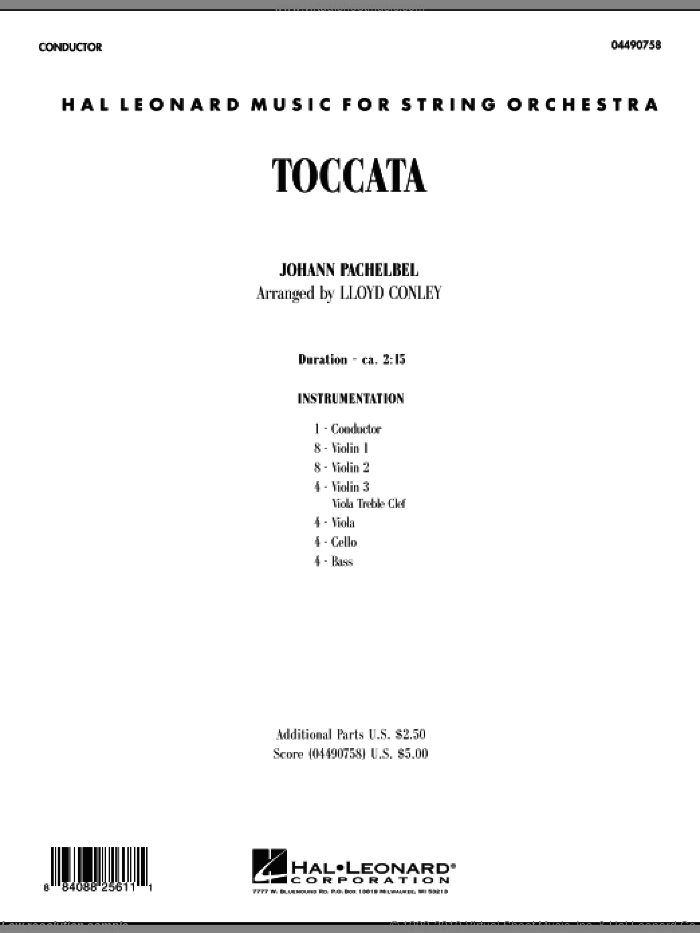 Toccata (COMPLETE) sheet music for orchestra by Johann Pachelbel and Lloyd Conley, classical score, intermediate skill level