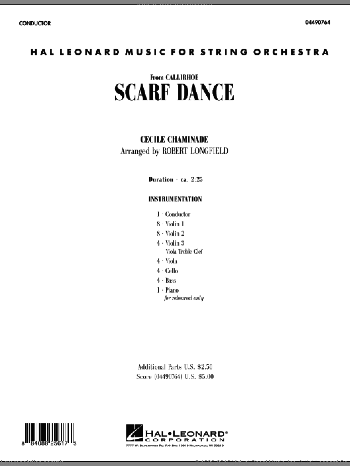 Scarf Dance (from 'Callirhoe') (COMPLETE) sheet music for orchestra by Cecile Chaminade and Robert Longfield, classical score, intermediate skill level
