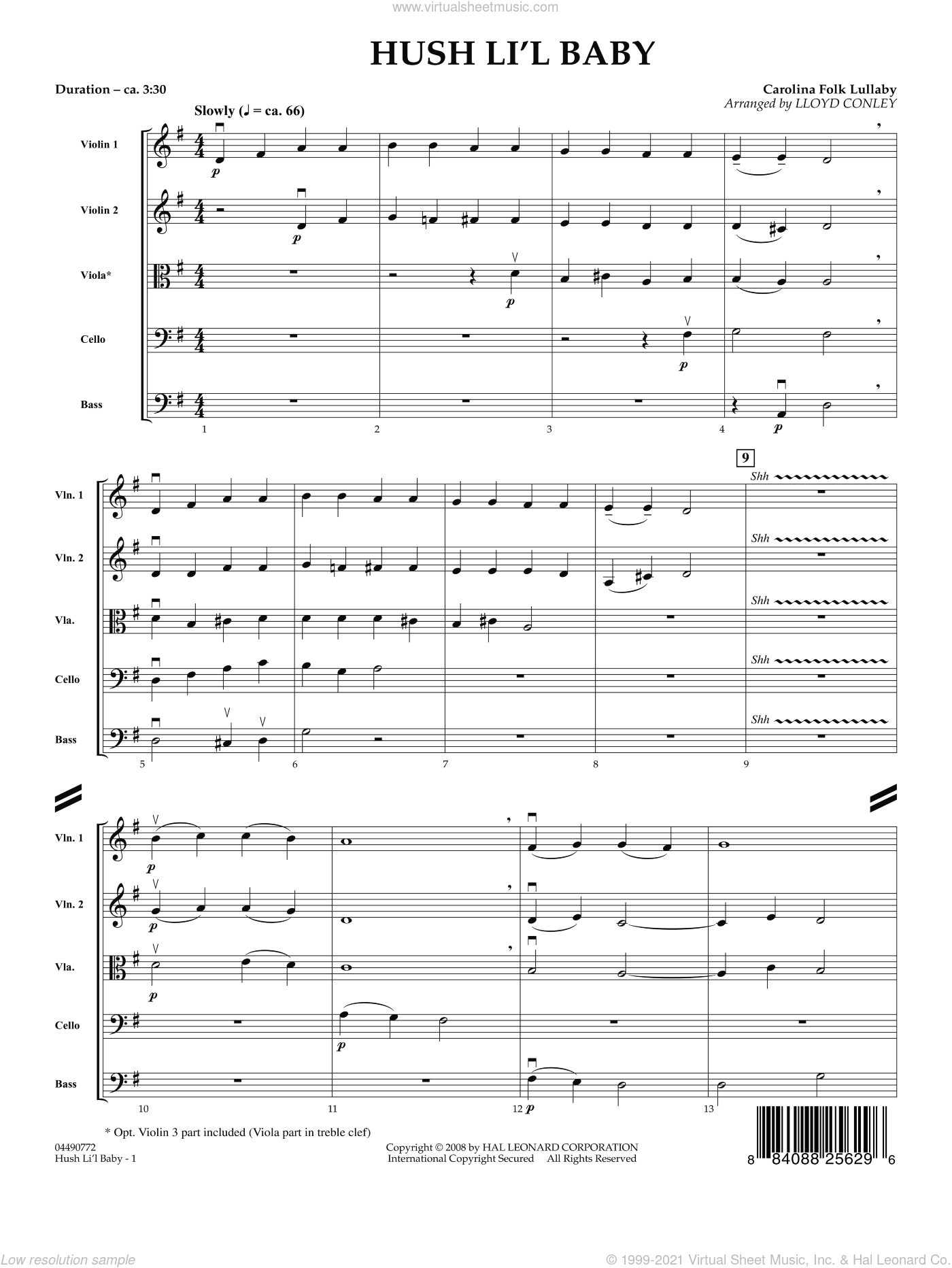 Hush Li'l Baby sheet music for orchestra (full score) by Lloyd Conley