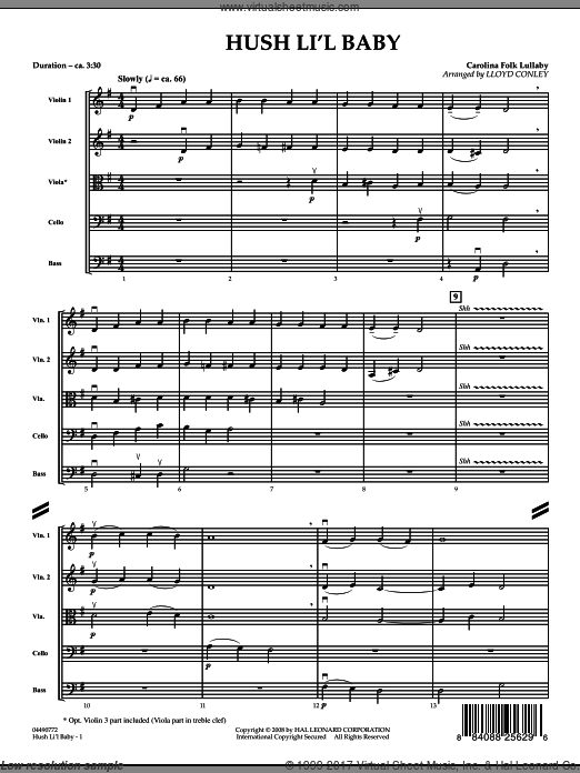Hush Li'l Baby (COMPLETE) sheet music for orchestra by Lloyd Conley