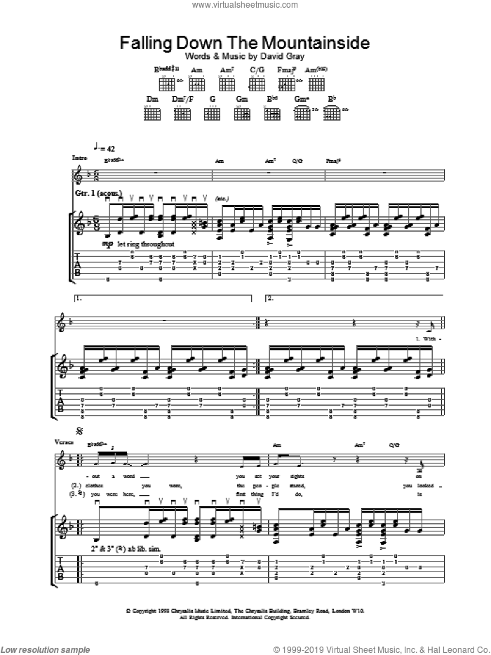 Falling Down The Mountainside sheet music for guitar (tablature) by David Gray, intermediate skill level