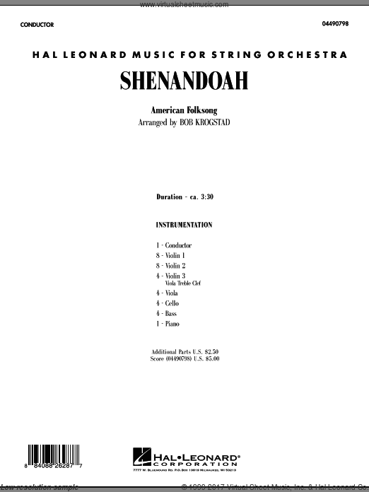 Shenandoah (COMPLETE) sheet music for orchestra by Bob Krogstad