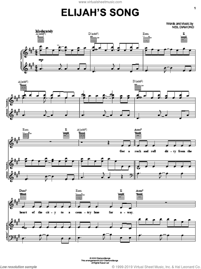 Elijah's Song sheet music for voice, piano or guitar by Neil Diamond, intermediate skill level