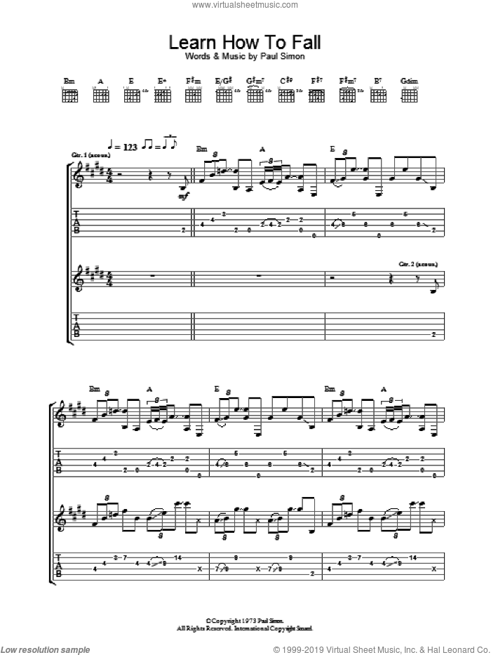Learn How To Fall sheet music for guitar (tablature) by Paul Simon, intermediate skill level