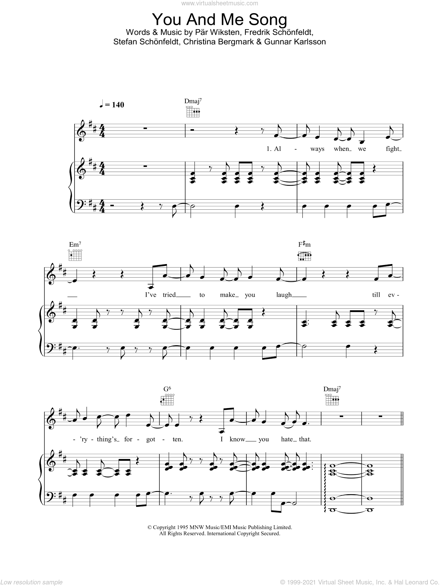You And Me Song sheet music for voice, piano or guitar by The Wannadies