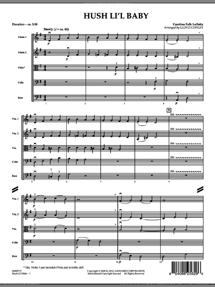 Hush Li'l Baby (COMPLETE) sheet music for orchestra by Lloyd Conley, intermediate skill level