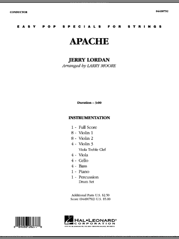 Apache (COMPLETE) sheet music for orchestra by Larry Moore and Jerry Lordan, intermediate skill level