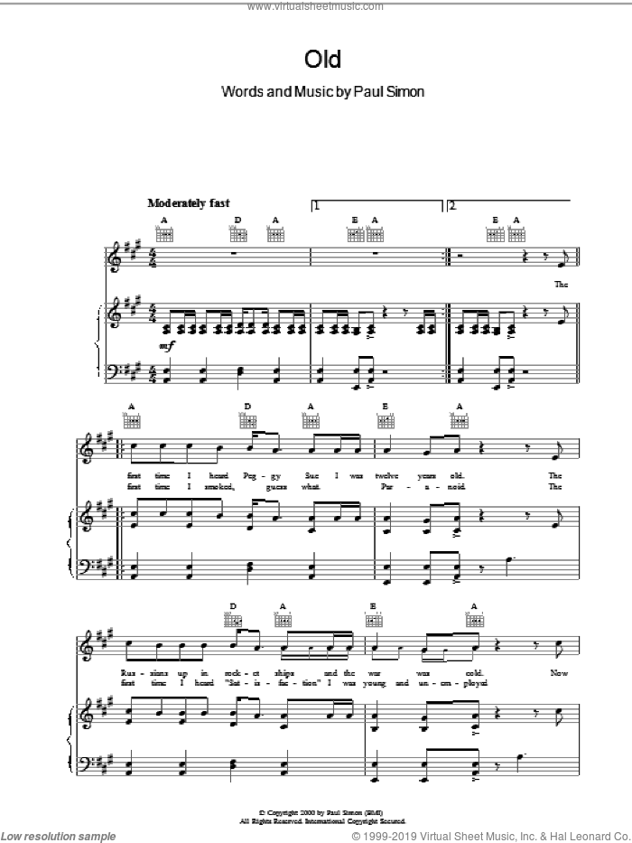 Old sheet music for voice, piano or guitar by Paul Simon, intermediate skill level