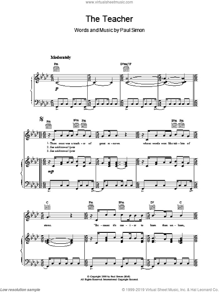 The Teacher sheet music for voice, piano or guitar by Paul Simon. Score Image Preview.