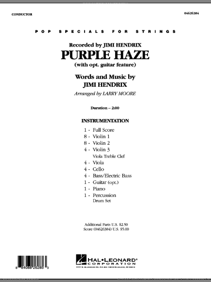 Purple Haze (COMPLETE) sheet music for orchestra by Jimi Hendrix and Larry Moore, intermediate orchestra. Score Image Preview.