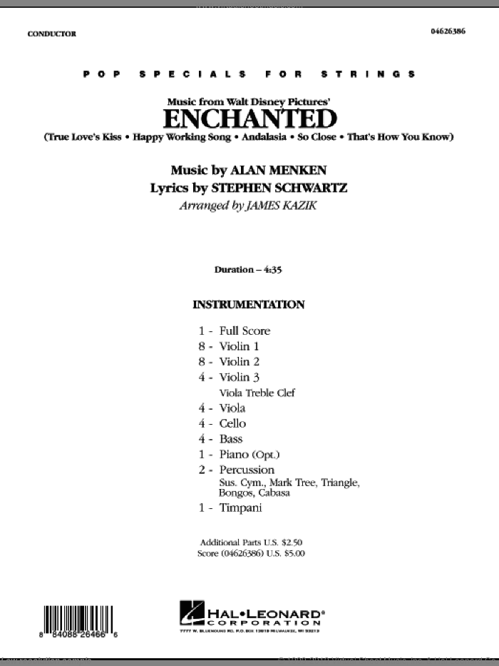 Music from Enchanted (COMPLETE) sheet music for orchestra by Alan Menken, Stephen Schwartz and James Kazik, intermediate. Score Image Preview.